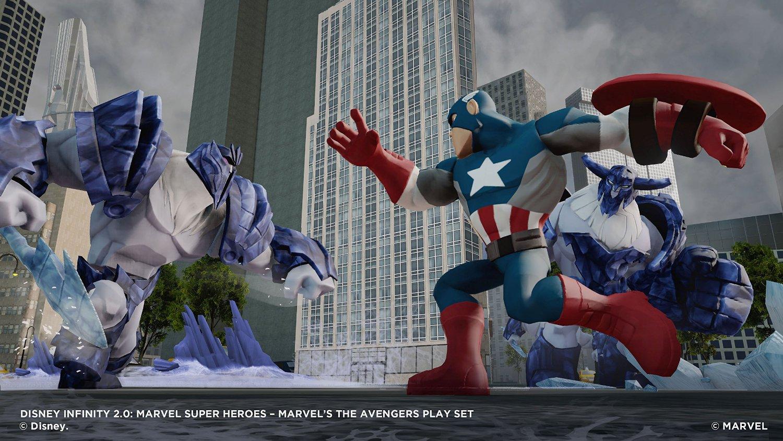 Captain America il confrunta cu curajul pe Raul Suprem cu ajutorul scutului indestructibil.