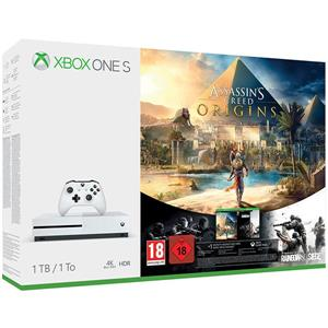 Consola MICROSOFT Xbox One S 1TB Alb + Assassin's Creed Origins + Tom Clancy's Rainbow Six Siege (Download Codes)