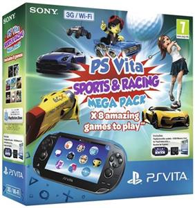 Consola SONY PlayStation Vita Wi-Fi cu Card 8GB si Voucher 8 Sports & Racing Mega Pack