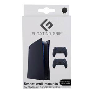 Floating Grip Playstation 5 Wall Mounts by Floating Grip - Black Bundle