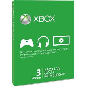 Xbox 360 Live Gold Card 3 Month Membership Card