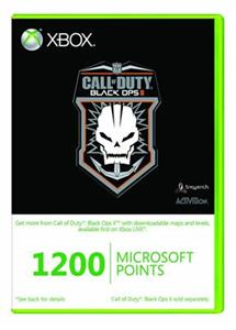 Xbox Live 1200 Microsoft Points Call of Duty Black Ops II Branded Xbox 360