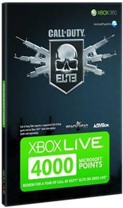 Xbox Live 4000 Points Card Call Of Duty Branded Xbox360